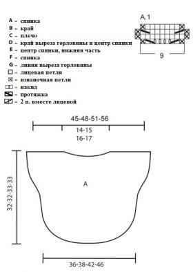Жилет вязаный спицами ажурным узором - Выкройка 1