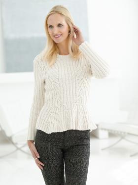 Пуловер с баской и жгутами