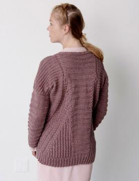 Пуловер со жгутами и спущенной проймой - Фото 1