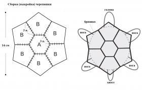 Черепашка амигуруми - Выкройка 1