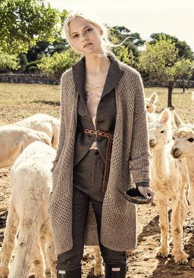 Пальто с узором соты из альпаки