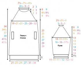 Свитер платье с карманами - Выкройка 1