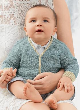 Кардиган с карманом спицами для малыша