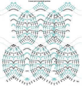 Пуловер с узором листочки крючком - Схема 2