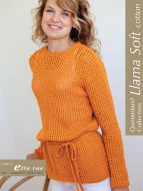 Свободный ажурный пуловер с поясом