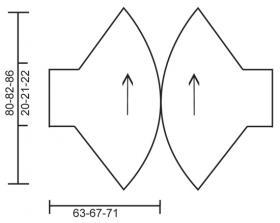 Жакет спицами с круглыми полочками и крупными жгутами - Выкройка 1