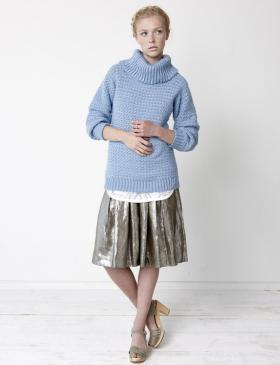 Пуловер с высоким отложным воротником