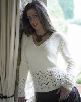 Пуловер с ажурным узором зиг заг