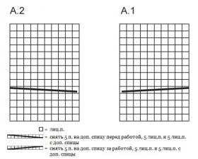 Жакет спицами с круглыми полочками и крупными жгутами - Схема 1