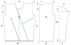 Оригинальный свитер с косами и высоким воротником - Выкройка 1
