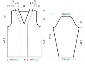Пуловер с треугольным вырезом и жгутами - Выкройка 1