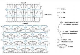Плед с узором елочка и веер - Схема 1