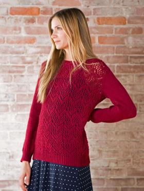 Ажурный свитер спицами с шевронами