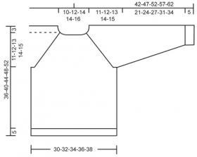Джемпер реглан спицами с рельефным узором - Выкройка 1