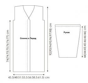 Пальто с аранами жемчужным узором - Выкройка 1