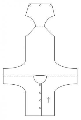 Боди спицами для новорожденного с длинным рукавом - Выкройка 2