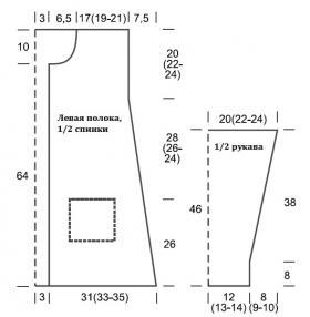 Кардиган с карманами и поперечными планками полочек - Выкройка 1