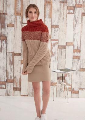 Пуловер резинкой бриошь с высоким воротником
