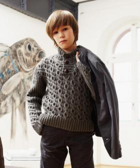 Свитер для мальчика с объемным узором