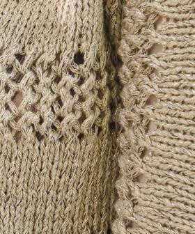 Пуловер с укороченным рукавом и ажурными вставками - Фото 1