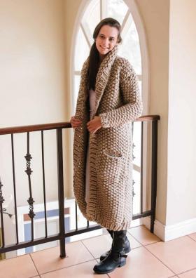 Длинное пальто с карманами из толстой пряжи