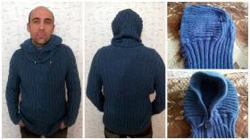Мужской свитер Гроза! Связан из пряжи шерсть+акрил+капрон. Защет добавления капрона пряжа имеет мерцающий эфект.как после дождя!От этого имеет такое название и мой свитер!