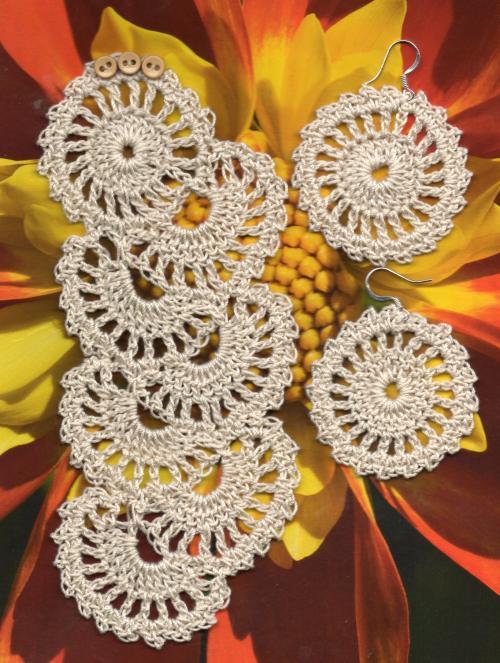 Ажурный комплект браслет и сережки